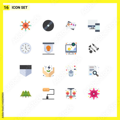 фотография Group of 16 Flat Colors Signs and Symbols for phone, mac, pokeball, devices, hea