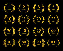 Set Of Anniversary Laurel Wreaths. Golden Anniversary Symbols On Black Background. 1,2,3,5,10,15,20,25, 30,40,50,60,70,80,90,100 Years.Template For Award And Congratulation Design Vector Illustration