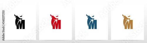 Buffalo Head On Letter Logo Design M Wallpaper Mural
