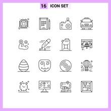 Outline Pack Of 16 Universal Symbols Of Medical, Fitness, Flash Camera, Police, Car