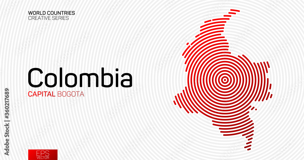 Fototapeta Abstract map of Colombia with red circle lines