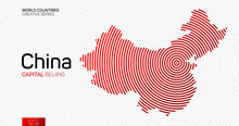 Abstract Map Of China With Red...