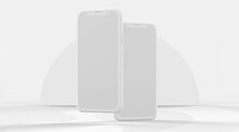 Vertical Close Up White Clay Smartphones With Blank Screen And Semicircle Background