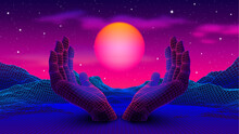 Neon Colored 80s Or 90s Styled Landscape With 3D Hands Holding The Glowing Purple Sun