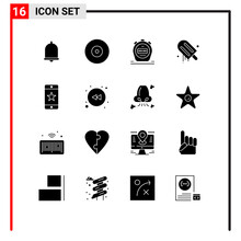 16 Universal Solid Glyphs Set For Web And Mobile Applications Device, Achievements, Timer, Usa, Cream