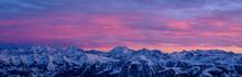 Sunset During Winter Time In The Swiss Alps, Gantrisch, Switzerland