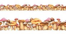 Seamless Border With Mushrooms...