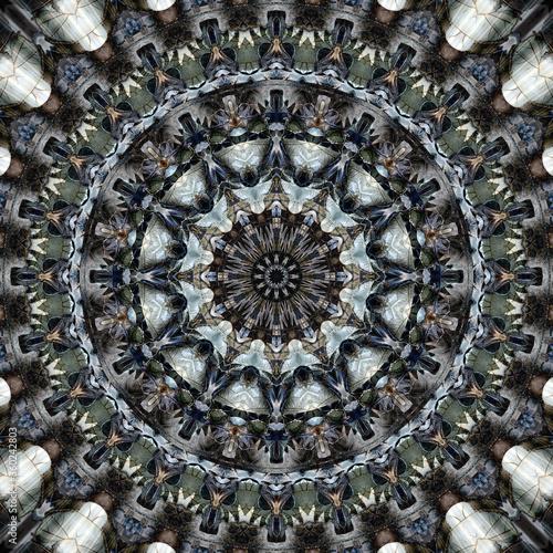 Photo elaborate kaleidoscopic circles muted blue green brown