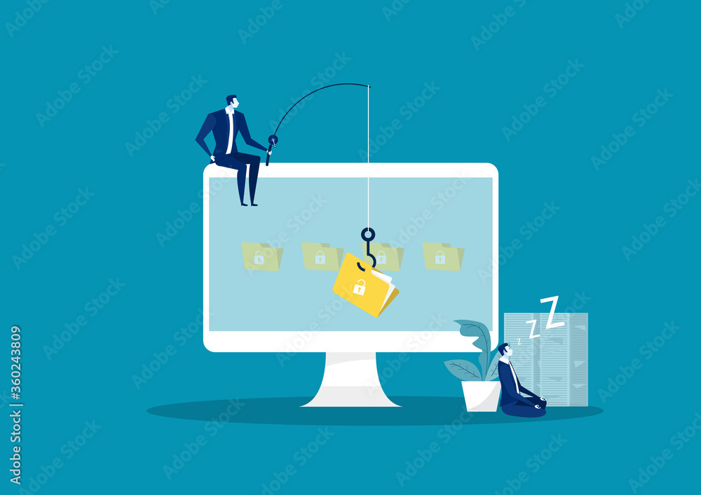 Fototapeta business man steal data ,hacker attack on file vector illustration. Attack hacker to data, phishing and hacking crime