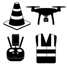 Drone Pilot Kit And Safety Equipment Silhouette Icons