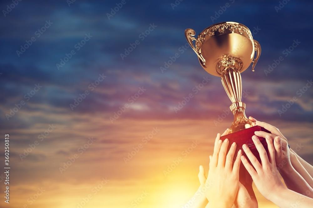 Fototapeta Trophy winning award sport success achievement cup