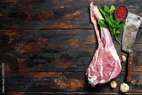 Fototapeta Whole raw leg of lamb