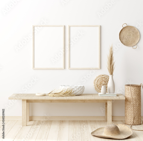 Mock up frame in home interior background with minimal decor, 3d render - 360261462