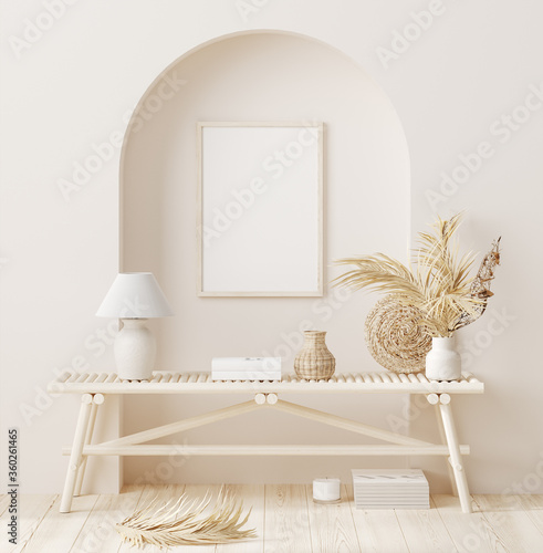 Fényképezés Mock up frame in home interior background with minimal decor, 3d render