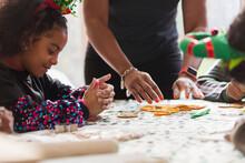 Girl Decorating Christmas Cook...
