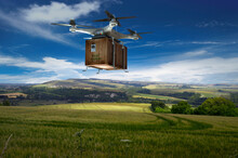 Drone Delivery Crate Over Rural Landscape