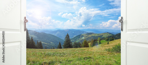 Doors open into forest and mountain slopes on sunny day Canvas Print