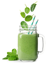 Fresh Green Spinach Leaves Fal...
