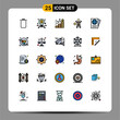 Modern Set of 25 Filled line Flat Colors and symbols such as passport, man, chart, health, gym