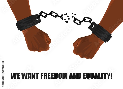 HANDS IN SHACKLES ON A WHITE BACKGROUND AND THE INSCRIPTION AGAINST RACISM