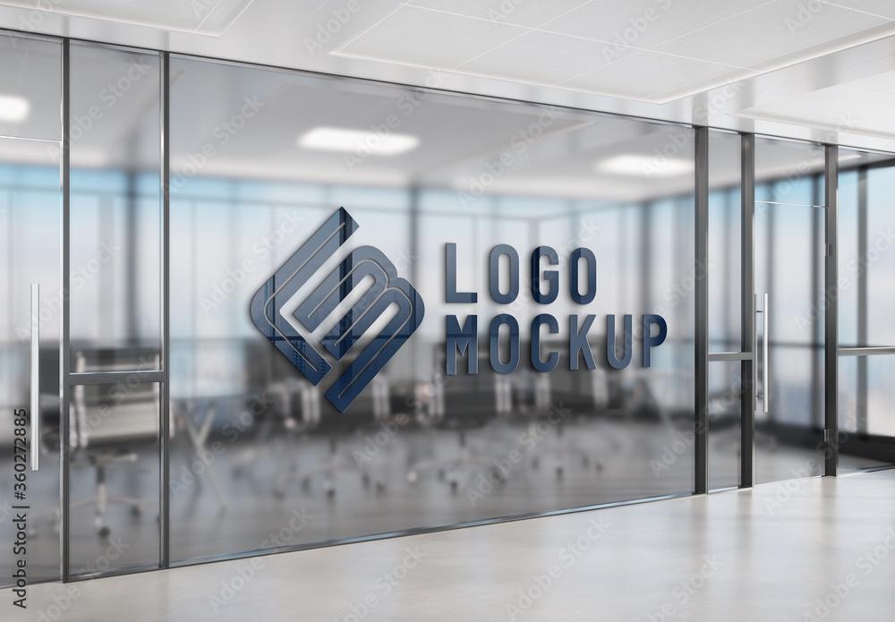 Fototapeta Logo on Office Window Mockup