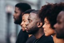 Black People On Street With Se...