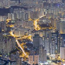 Apartment Blocks At Night, Kowloon, Hong Kong