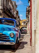 Vintage Car At The Street Of La Habana Vieja, Havana, La Habana Province, Cuba