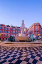 Statue Of Apollo At Place Massena, Nice, South Of France,