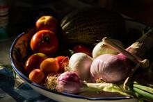 High Angle View Of Fresh Food ...