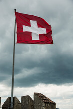 Low Angle View Of Swiss Flag F...