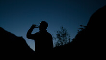 Silhouette Man Drinking Water ...