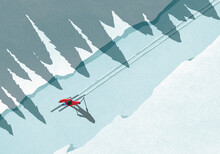 Illustration Of Man Skiing Dur...