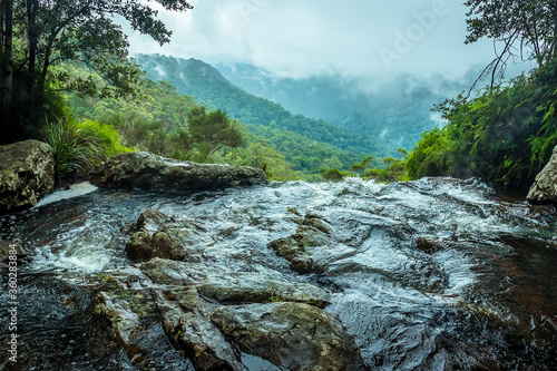 A stream reaches the top of the Twin Falls in Springbrook National Park, Queensl Wallpaper Mural