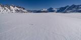 Idyllic shot of snow landscape against blue sky, Colony Glacier, Palmer, Alaska, USA