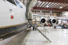 Private Jet In Airplane Hangar