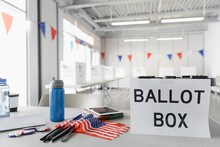 Ballot Box And American Flags ...