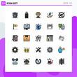 User Interface Pack of 25 Basic Filled line Flat Colors of random, mix, progress, arrow, energy