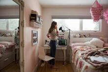 Teenage Girl Singing And Recor...