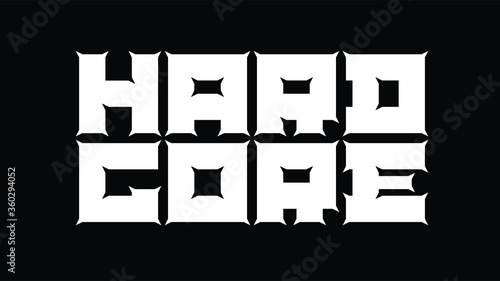 Custom display logo font of Hard Core in edgy style with abstract perspective an Canvas Print
