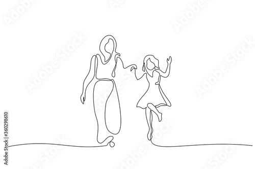 Canvastavla Mother and daughter walking together one line drawing