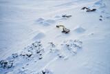 Mountainous area with excavators in winter