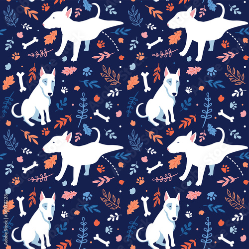 Fotografia Seamless cartoon dogs pattern with bones, footprint and leaves