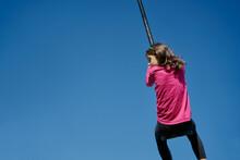 Girl On A Children's Zip Line ...