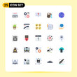 Modern Set of 25 Flat Colors and symbols such as computing, world, arrow, spa, olive