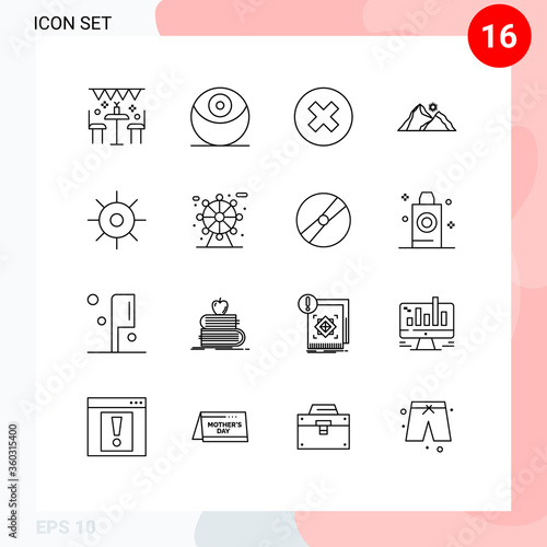 фотография Pictogram Set of 16 Simple Outlines of biology, mountain, close, nature, hill