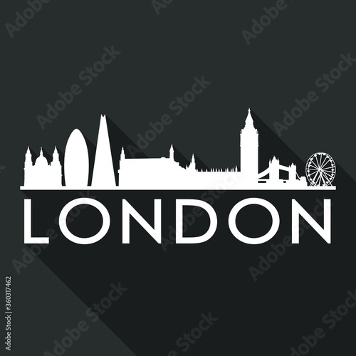 London Flat Icon Skyline Silhouette Design City Vector Art Famous Buildings