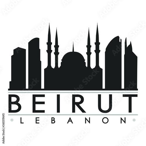 Tableau sur Toile Beirut Skyline Silhouette Design City Vector Art Famous Buildings