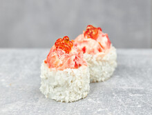 Two Pieces Of Sushi Roll Urama...