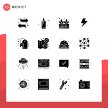 Solid Glyph Pack Of 16 Universal Symbols Of Heart, Real Estate, Grower, Discount, Charg
